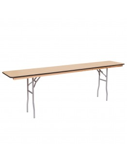 8 Foot Conference Wood Folding Table, Vinyl Edging