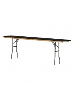 8 Foot Conference Wood Folding Table, Black Laminate, Vinyl Edging