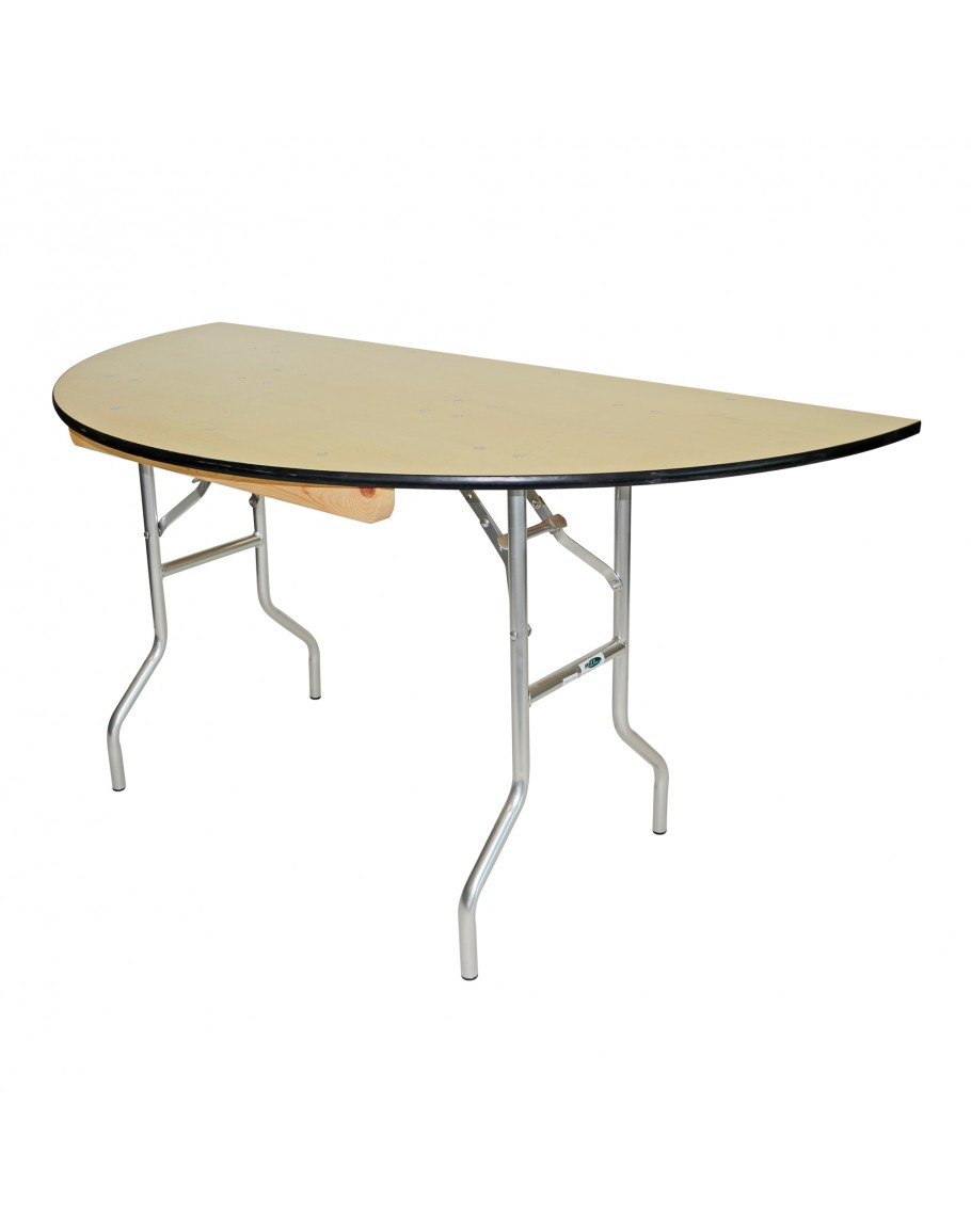 - 60 Inch Round Wood Half Round Folding Table, Metal Edging