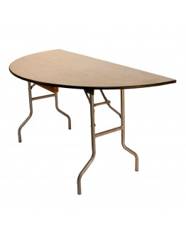 60 Inch Round Wood Half Round Folding Table, Metal Edging
