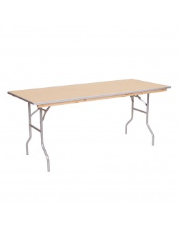 4 Foot Banquet Wood Folding Table, Metal Edging