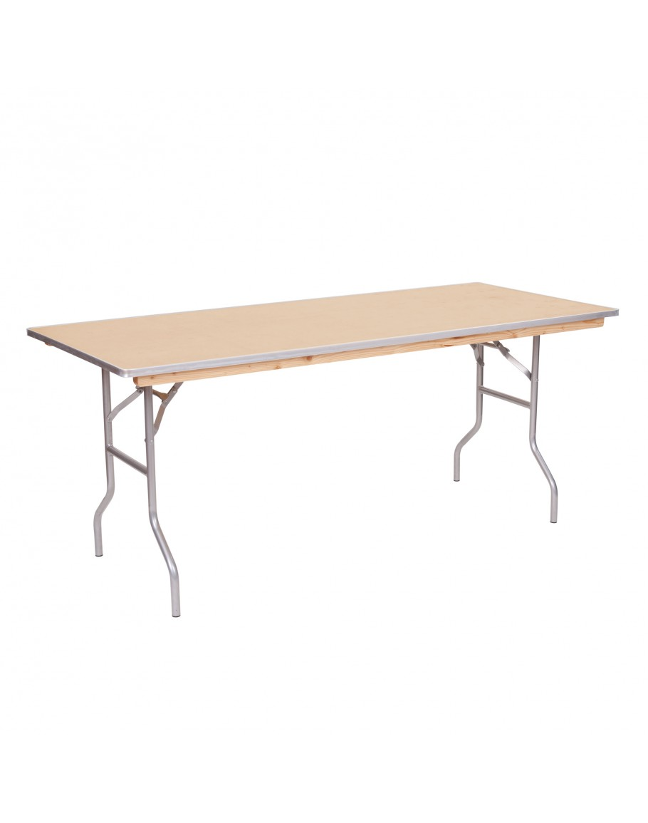 6 Foot Banquet Wood Folding Table Metal Edging