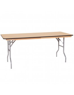 6 Foot Banquet Wood Folding Table, Vinyl Edging