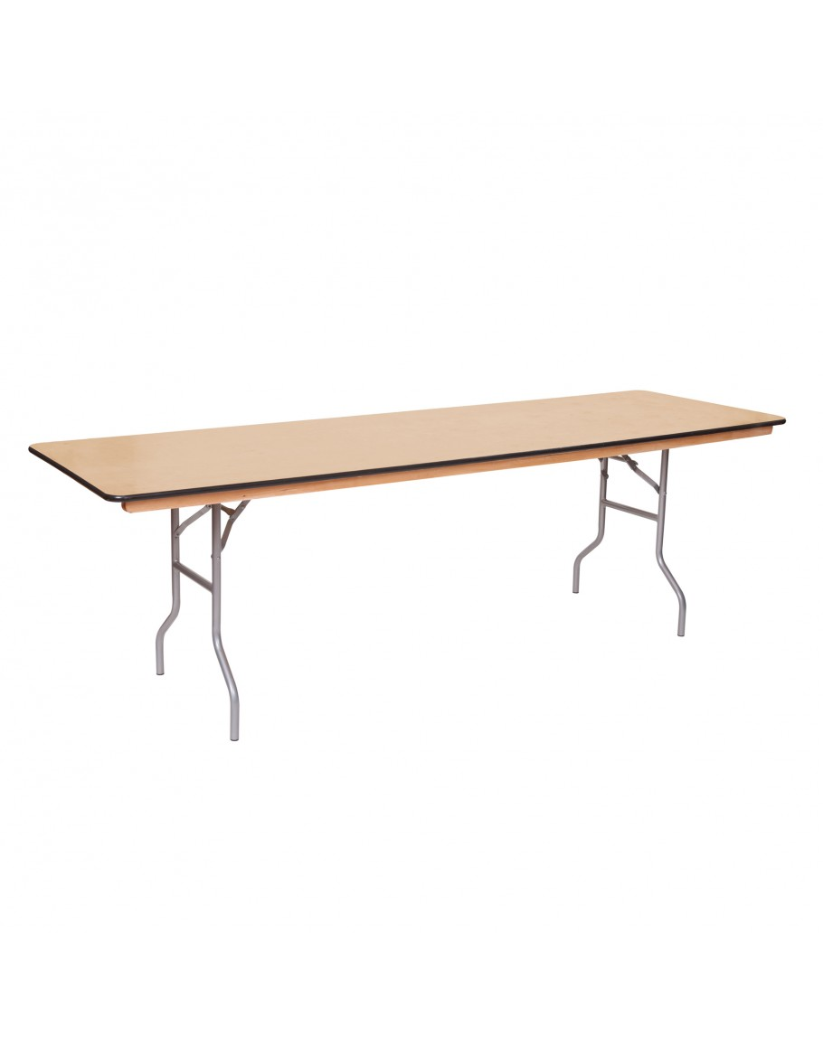 8 Foot Banquet Wood Folding Table, Vinyl Edging