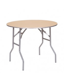 36 Inch Round Wood Folding Table, Metal Edging