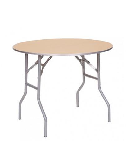 36 Inch Round Wood Folding Table Metal Edging