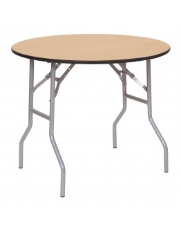 30 Inch Round Wood Folding Table, Vinyl Edging