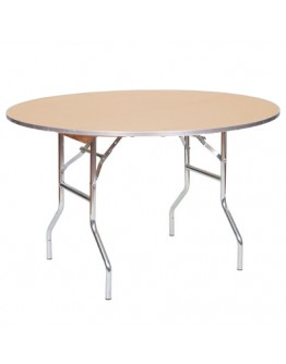 48 Inch Round Wood Folding Table, Metal Edging