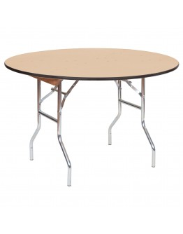 48 Inch Round Wood Folding Table, Vinyl Edging