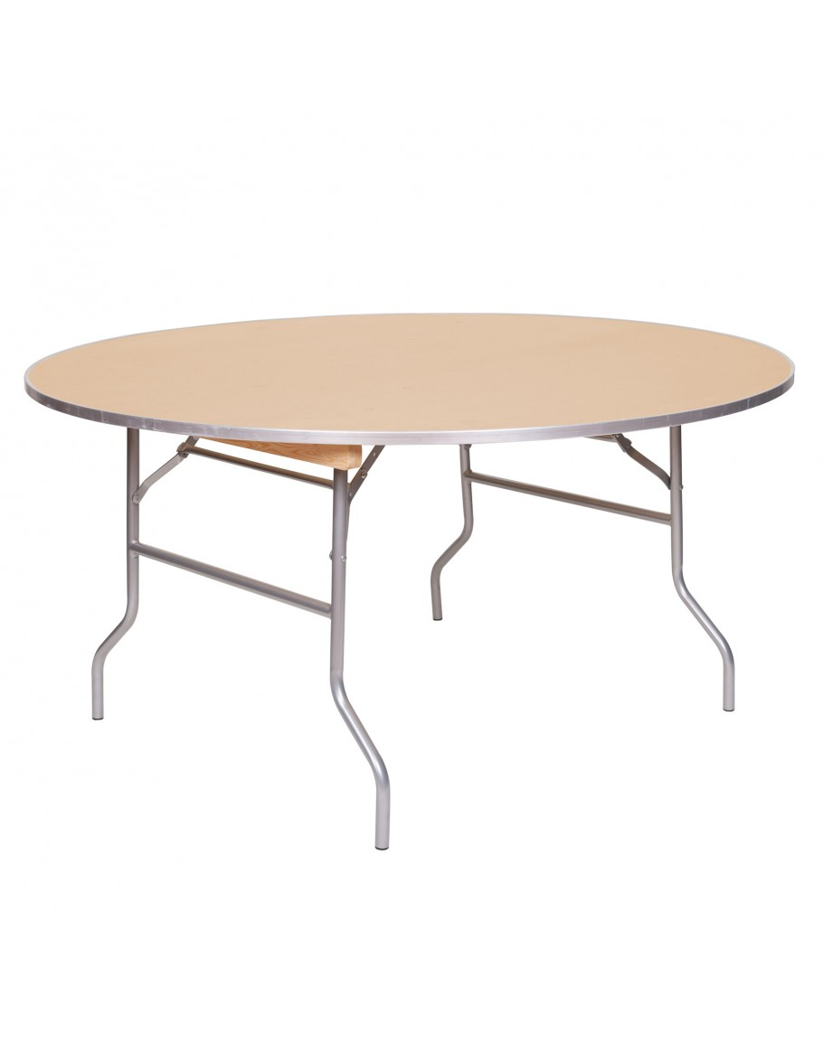 - 60 Inch Round Wood Folding Table, Metal Edging