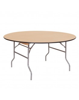 60 Inch Round Wood Folding Table, Vinyl Edging