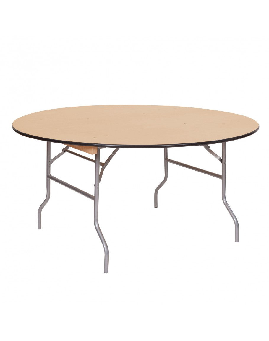 - 60 Inch Round Wood Folding Table, Vinyl Edging