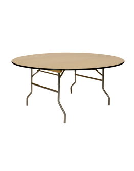 66 Inch Round Wood Folding Table, Vinyl Edging