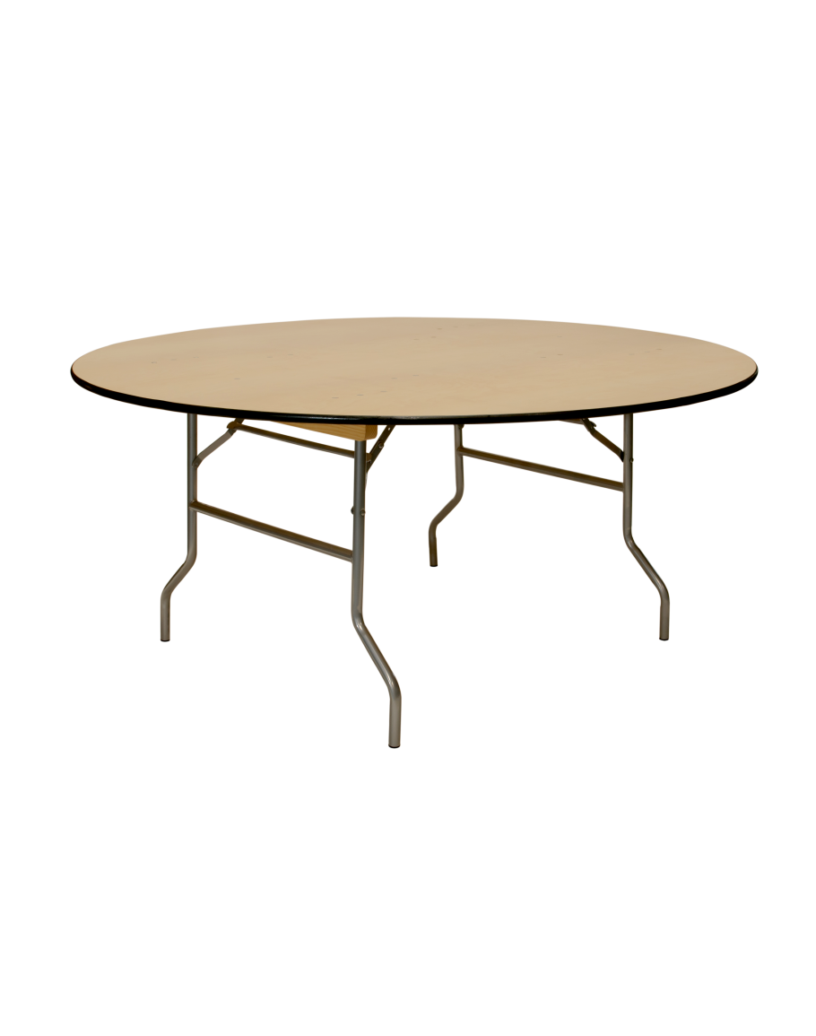 66 Inch Round Wood Folding Table Vinyl Edging