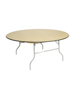 72 Inch Round Wood Folding Table, Vinyl Edging