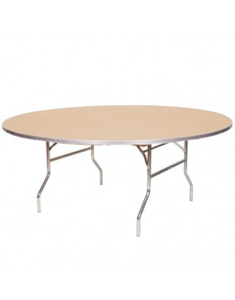 72 Inch Round Wood Folding Table, Metal Edging