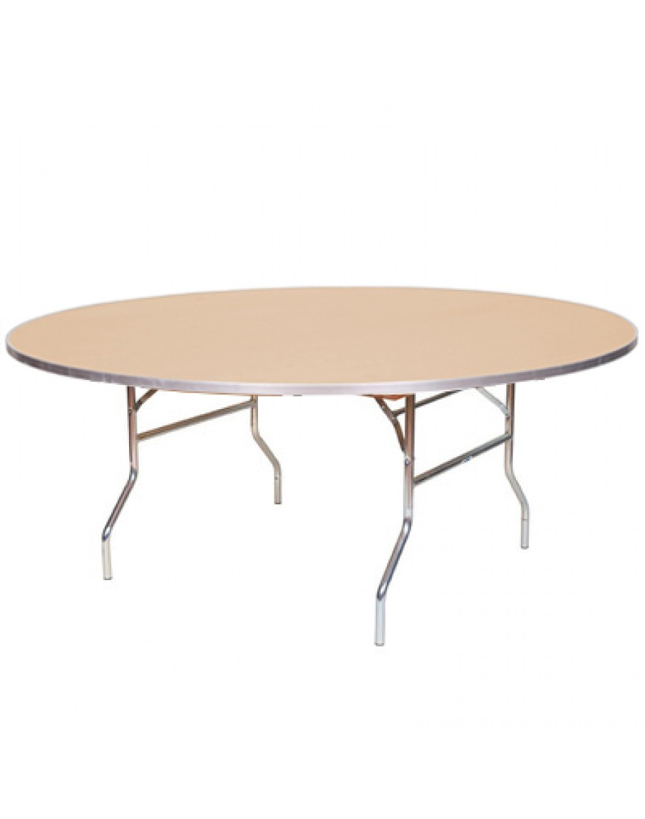- 72 Inch Round Wood Folding Table, Metal Edging