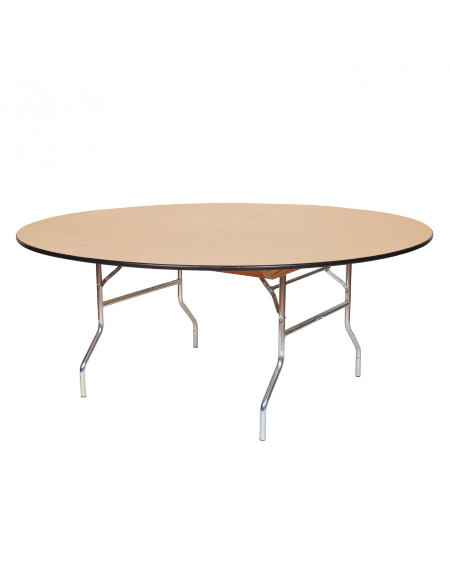 - 72 Inch Round Wood Folding Table, Vinyl Edging