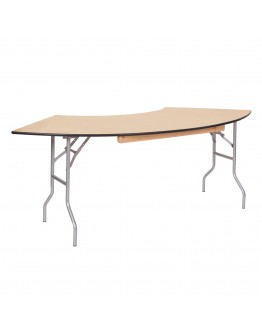 5 Foot Serpentine Wood Folding Table, Vinyl Edging