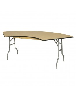 5 Foot Serpentine Wood Folding Table, Metal Edging