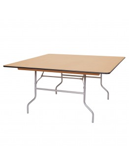 60 Inch Square Wood Folding Table, Metal Edging